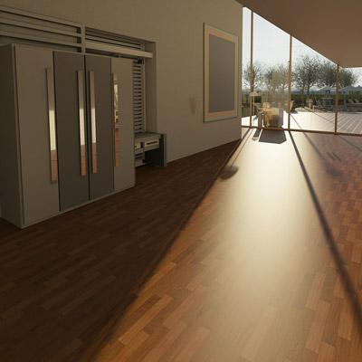 Wood panel floor